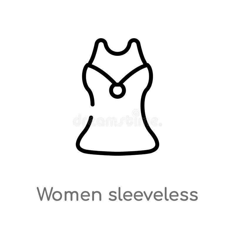 ?cone sem mangas do vetor da camisa das mulheres do esbo?o linha simples preta isolada ilustra??o do elemento do conceito da form ilustração stock