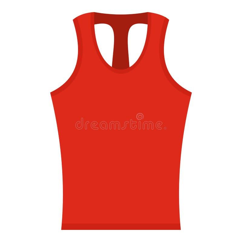 Ícone sem mangas vermelho da camisa isolado ilustração do vetor