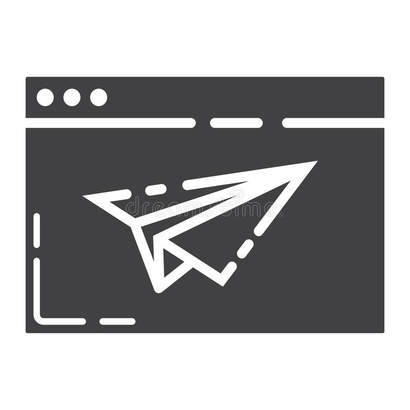 Ícone, seo e desenvolvimento do glyph da página da aterrissagem ilustração do vetor