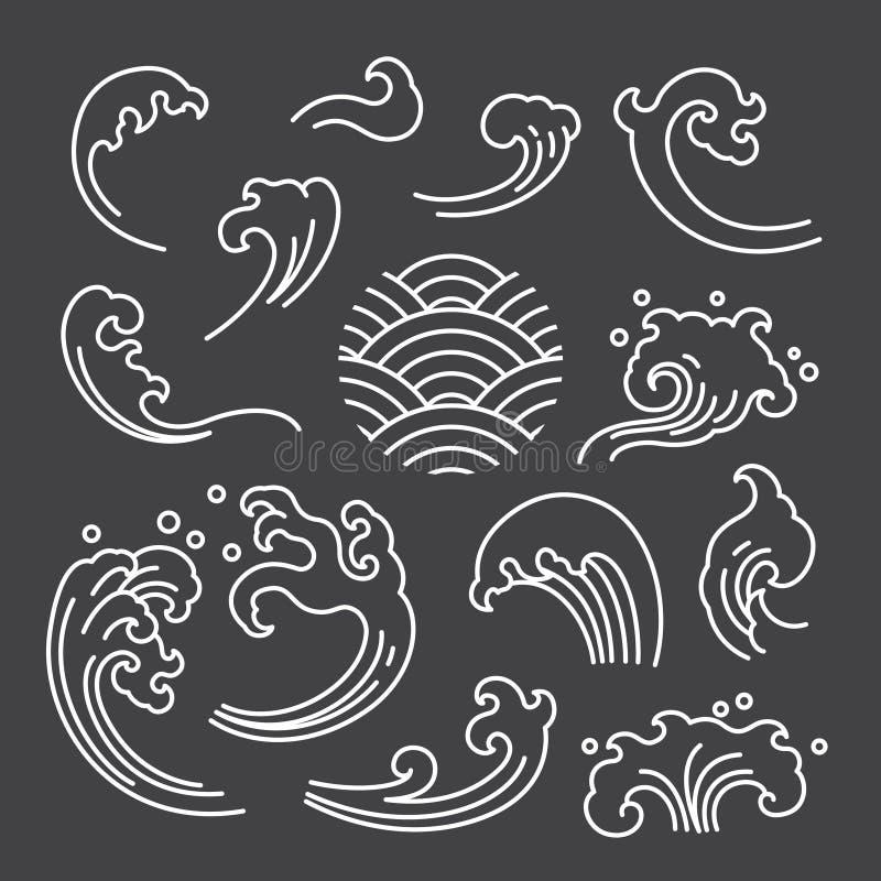 Ícone separado isolado oriental da onda de água japonês thai ilustração stock