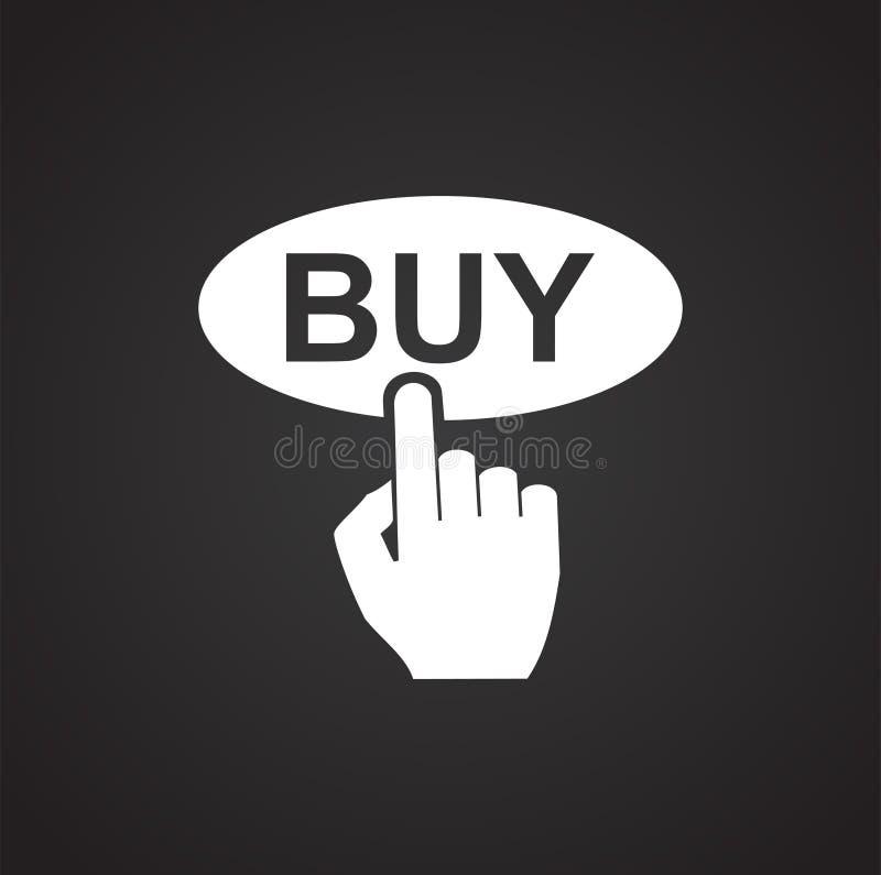 Ícone shoping em linha do botão da compra no fundo preto para o gráfico e o design web, sinal simples moderno do vetor Conceito d ilustração stock