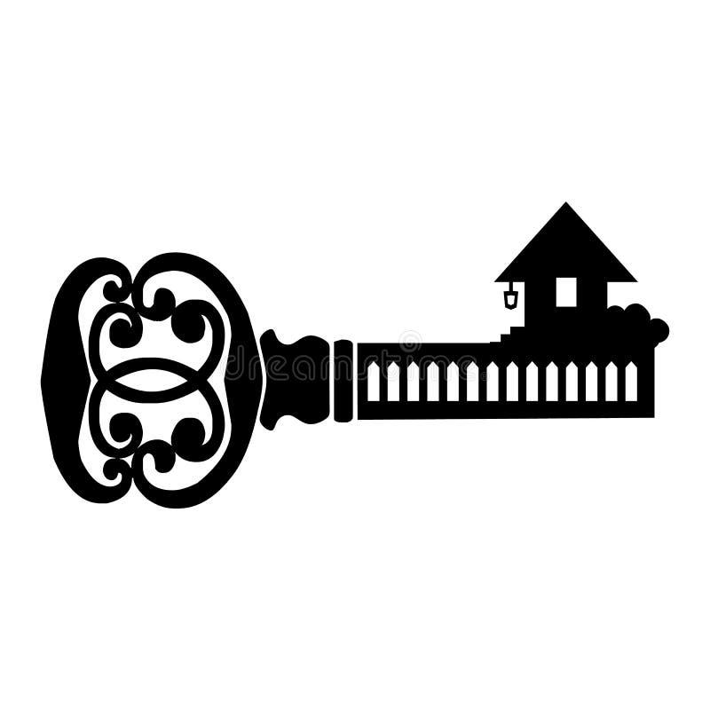 Ícone simples chave ilustração stock
