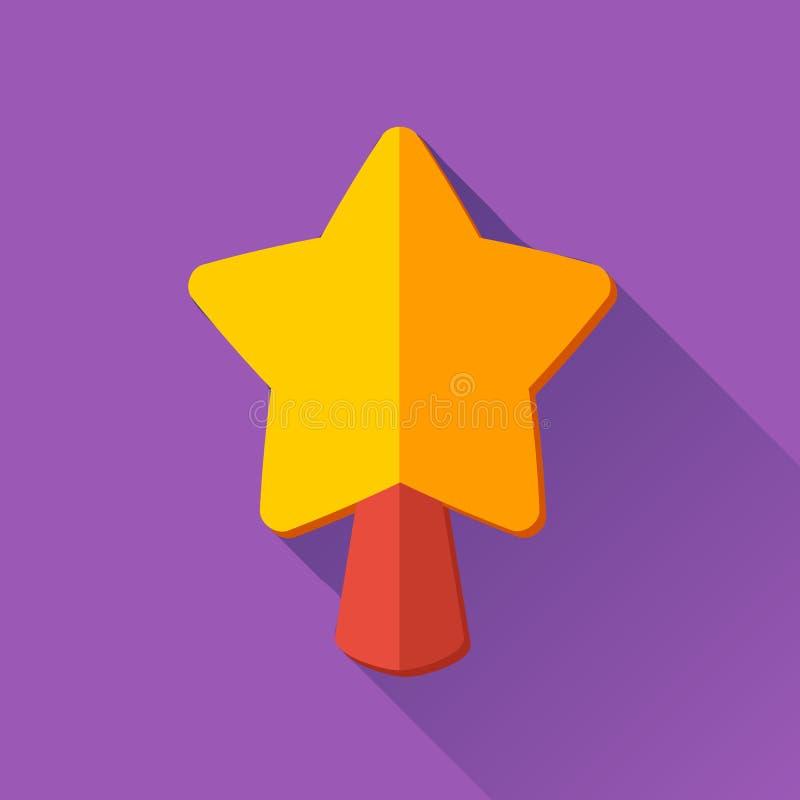 Ícone simples da estrela do Natal no estilo liso ilustração royalty free