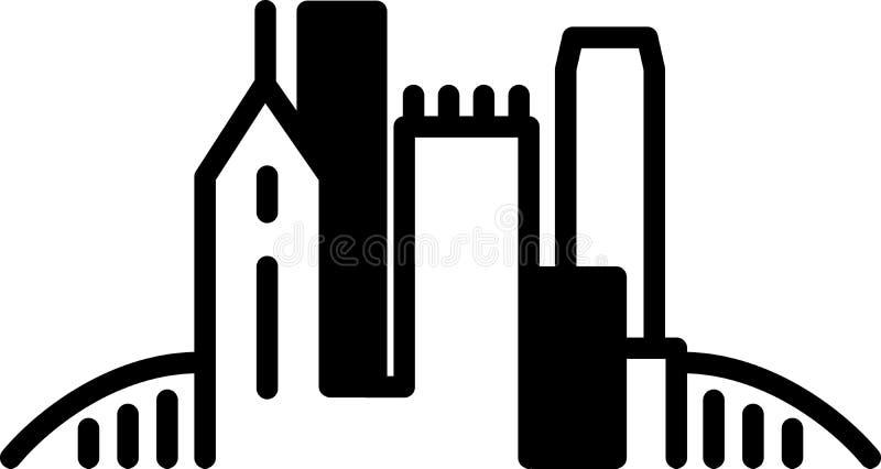 Ícone simples da skyline de Pittsburgh ilustração do vetor