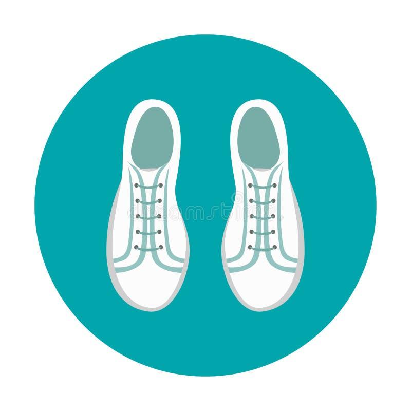 Ícone simples das sapatilhas brancas Sapatas da juventude no fundo azul ilustração do vetor