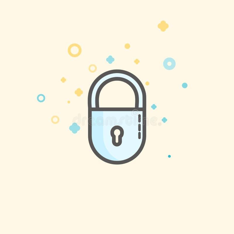 Ícone simplesde Flatdo vetor de Businessede finança Cadeado clássico como o símbolo da proteção Ícone liso do estilo  ilustração royalty free