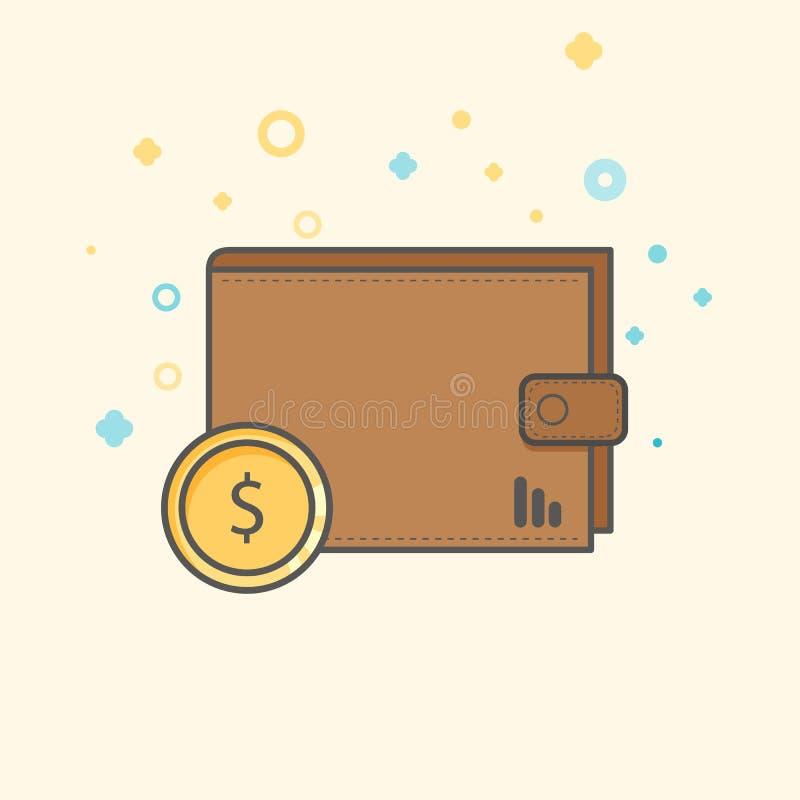 Ícone simplesde Flatdo vetor de Businessede finança Carteira clássica para o dinheiro Ícone liso do estilo  ilustração stock