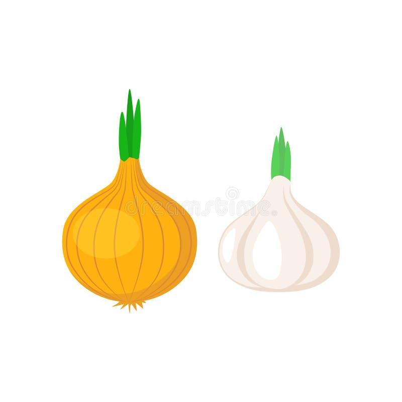 Ícone simples do clipart vegetal do alho e da cebola Desenhos animados do alho e da cebola ilustração stock