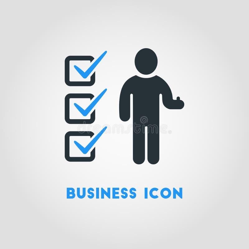 Ícone simples do negócio do homem de negócios With Completed Checklist dentro ilustração do vetor