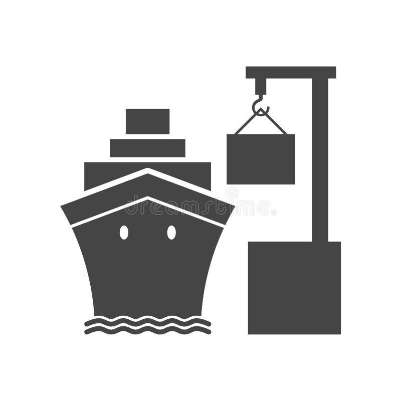 Ícone simples do porto do comércio de mar ilustração royalty free