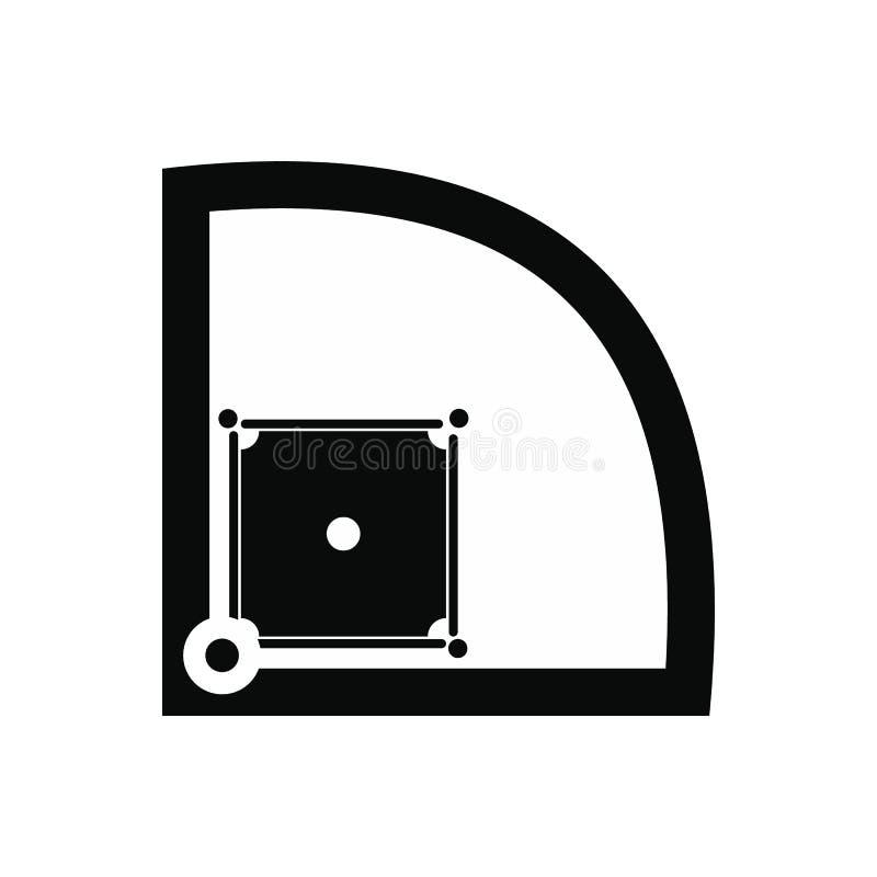 Ícone simples do preto do campo de basebol ilustração royalty free