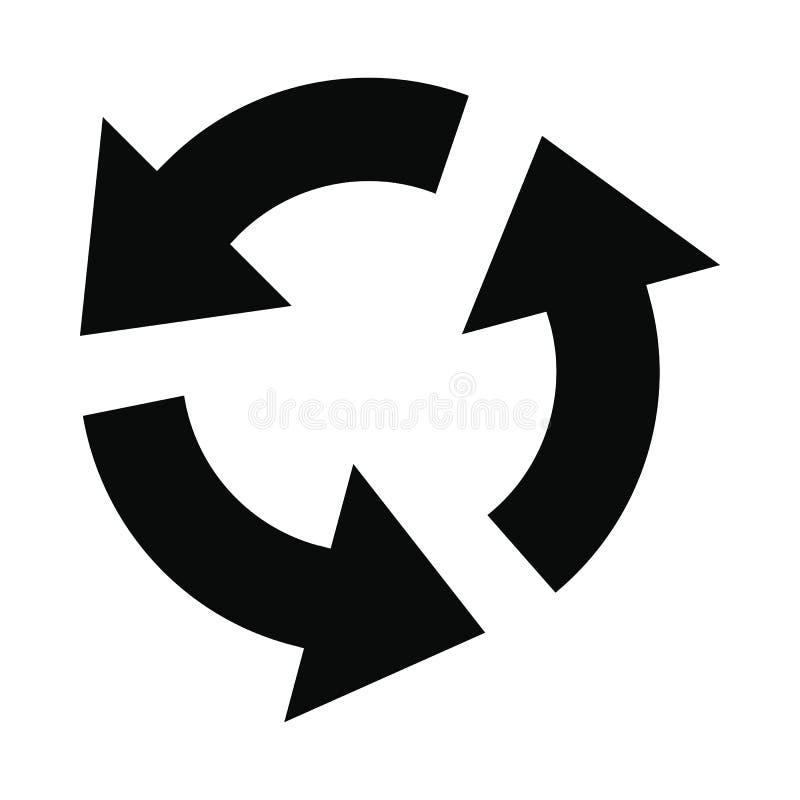 Ícone simples do preto circular das setas ilustração stock