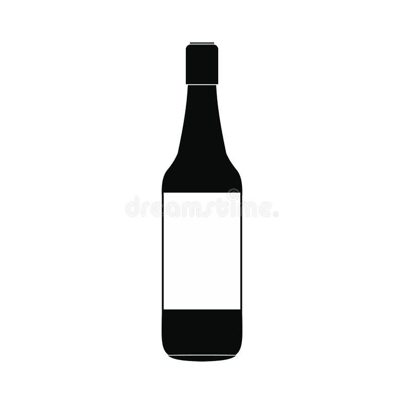 Ícone simples do preto da garrafa de cerveja ilustração stock