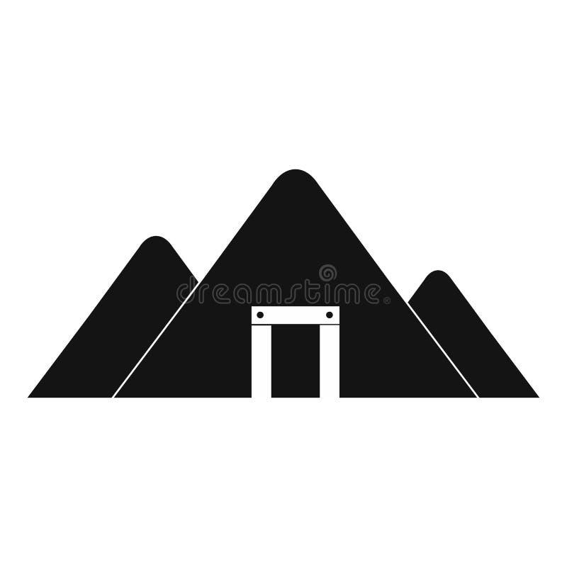 Ícone simples do preto da mina da montanha ilustração royalty free