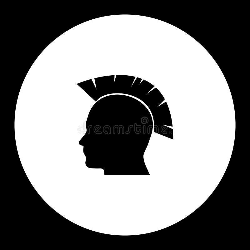 Ícone simples do preto da silhueta da cabeça punk do estilo ilustração royalty free