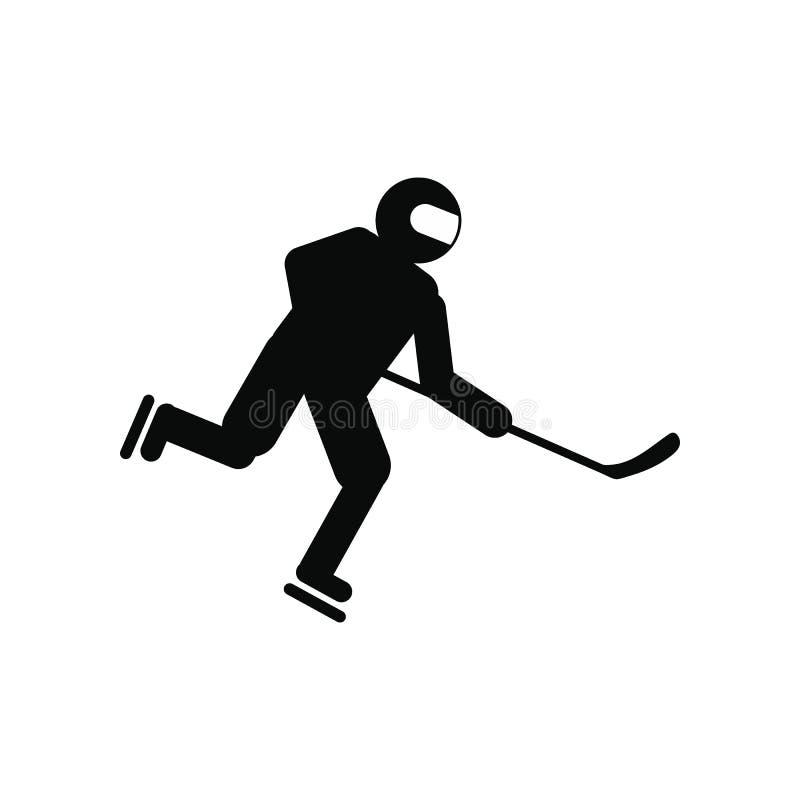 Ícone simples do preto do jogador de hóquei ilustração do vetor