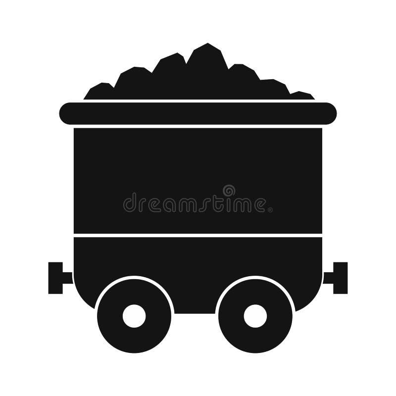 Ícone simples do preto do trole de carvão ilustração do vetor