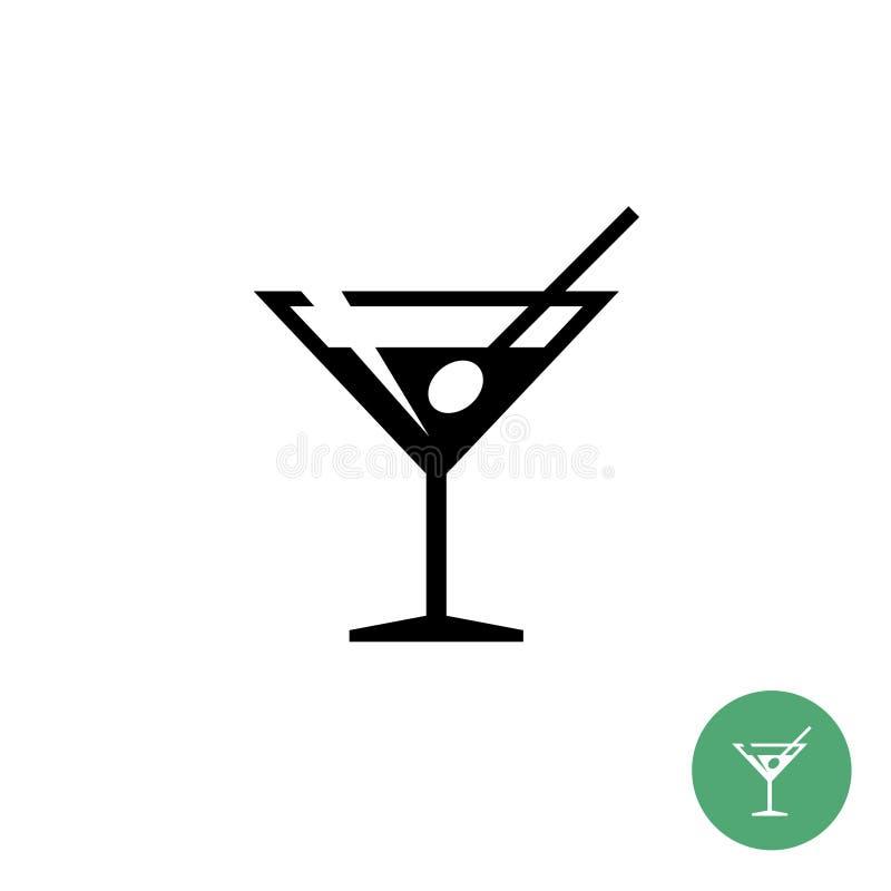 Ícone simples do preto do vidro de cocktail de martini do triângulo ilustração royalty free