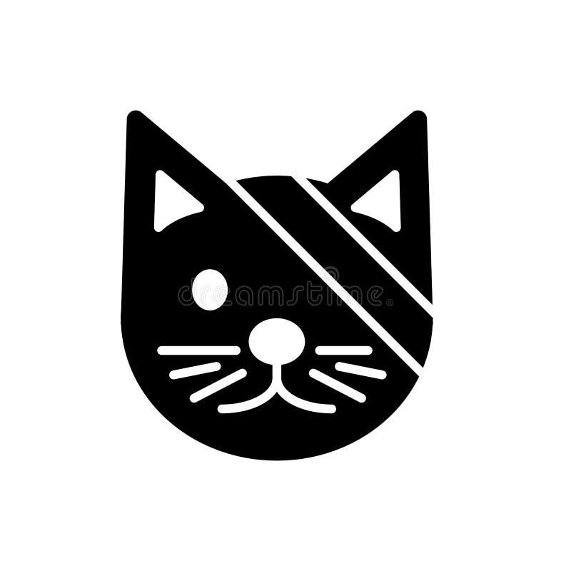 Ícone simples do vetor do gato bonito doente Ilustração preto e branco do olho enfaixado catvwith Ícone veterinário linear contín ilustração stock
