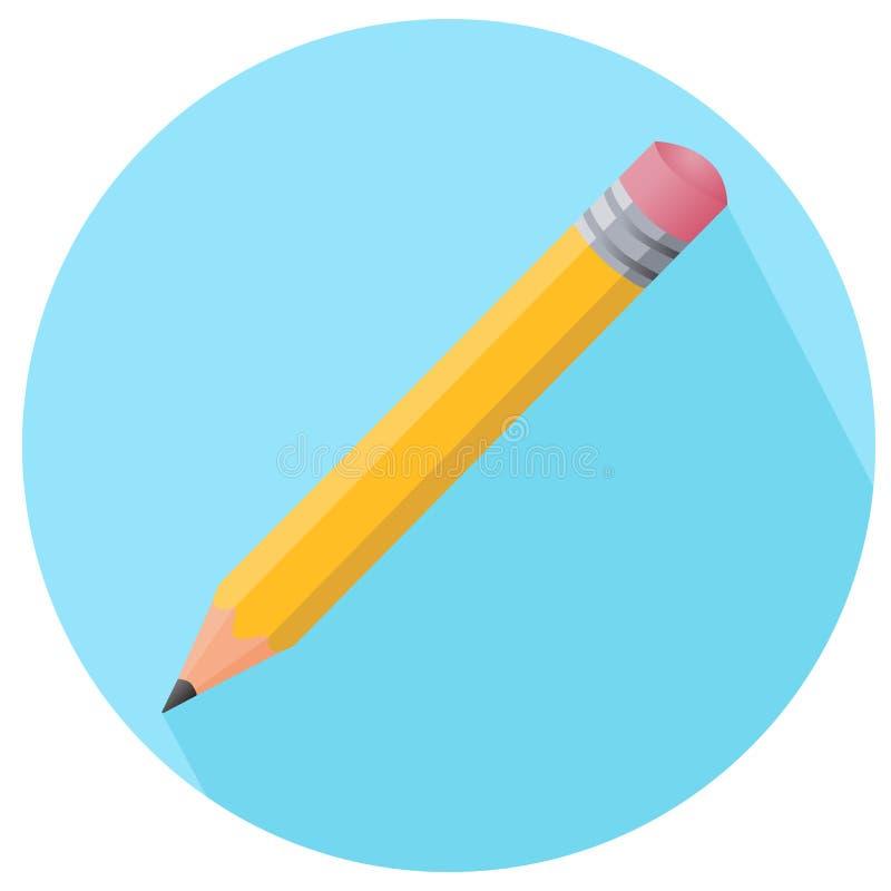 Ícone simples do vetor do lápis da cor com borracha no estilo liso em azul ilustração royalty free