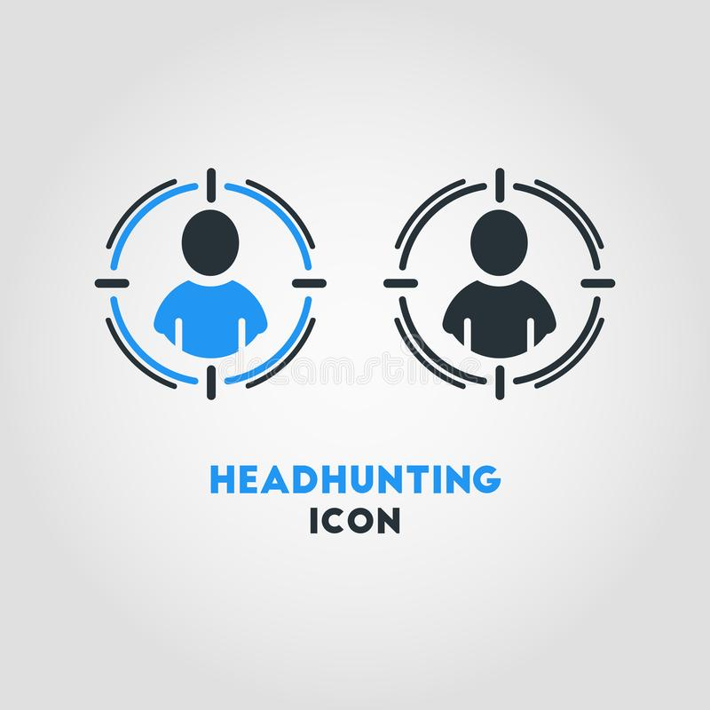 Ícone simples do vetor do negócio de caçar cabeças no colo azul e preto ilustração do vetor
