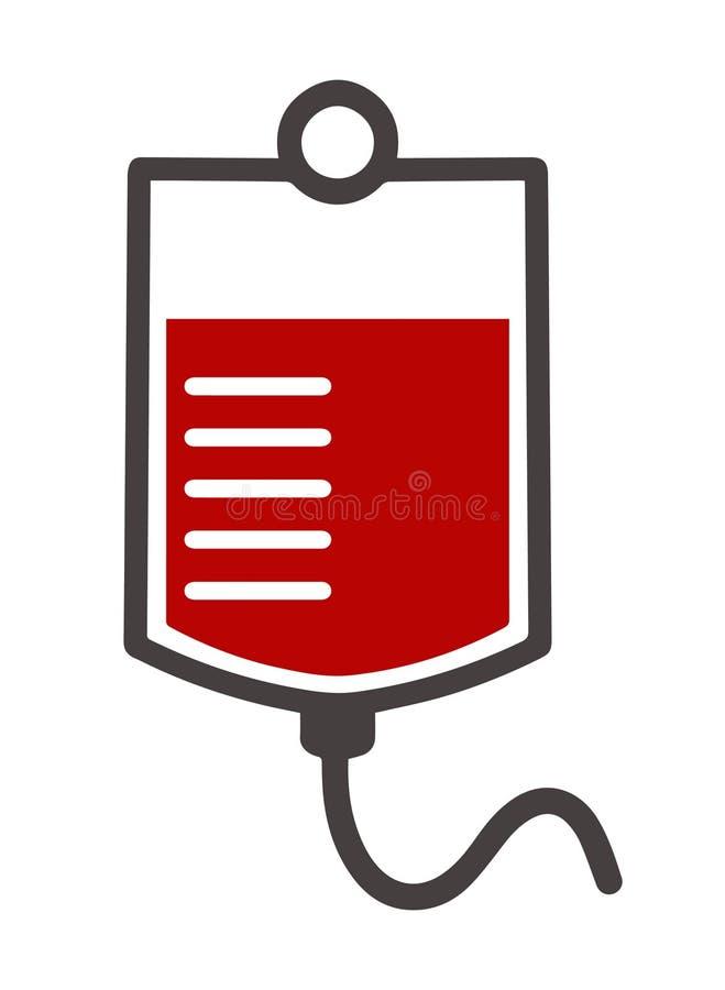 Ícone simples do vetor do saco médico do sangue ilustração stock