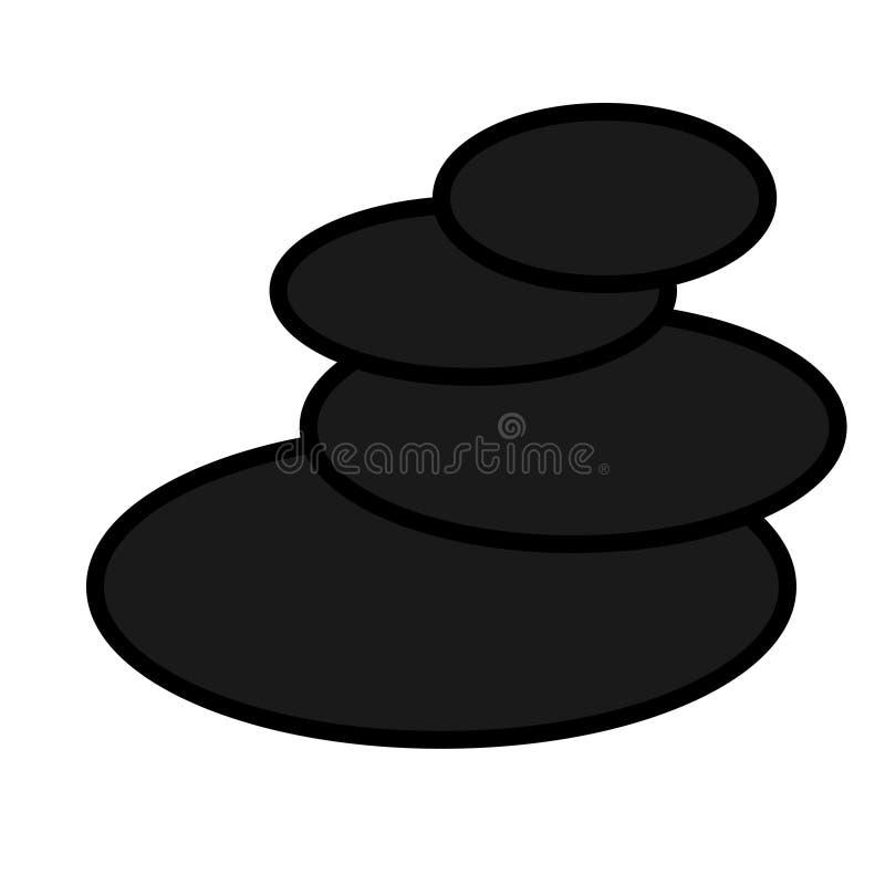 Ícone simples natural preto liso de pedras redondas ovais glamoroso na moda do basalto para a massagem e a terapia de pedra, orie ilustração royalty free