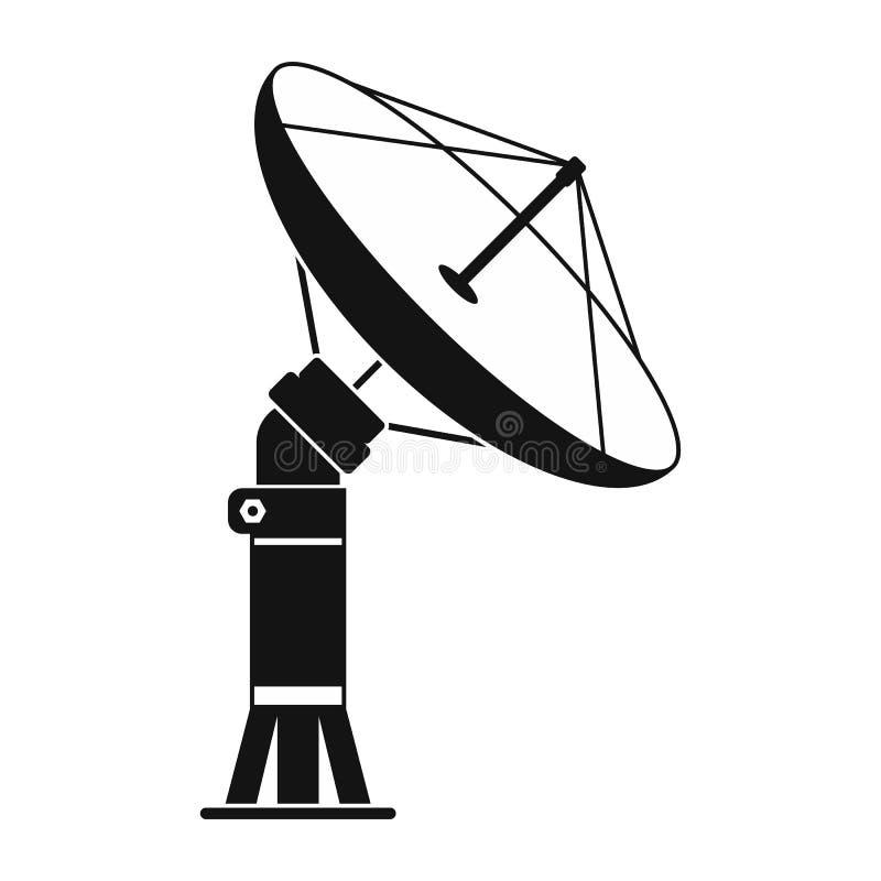 Ícone simples preto aereal parabólico ilustração stock