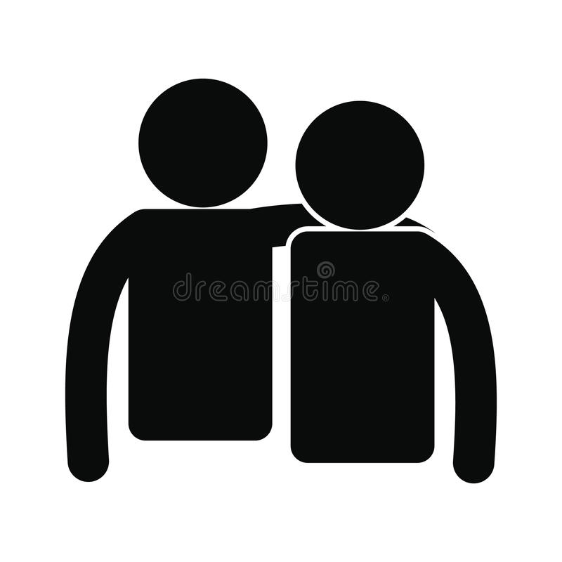 Ícone simples preto da amizade ilustração do vetor