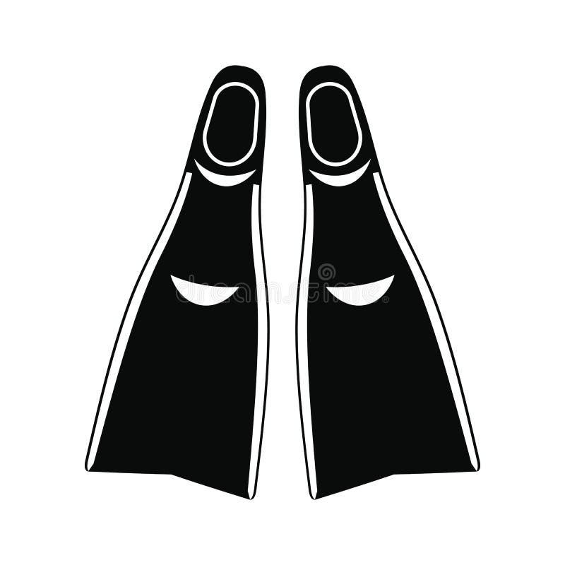 Ícone simples preto das aletas ilustração royalty free
