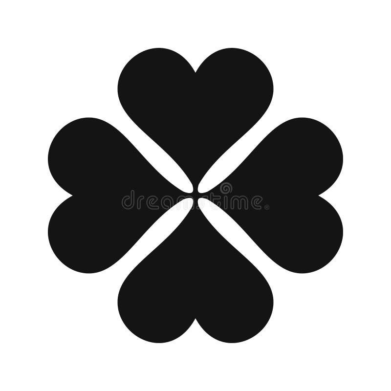 Ícone simples preto do trevo de quatro folhas ilustração stock