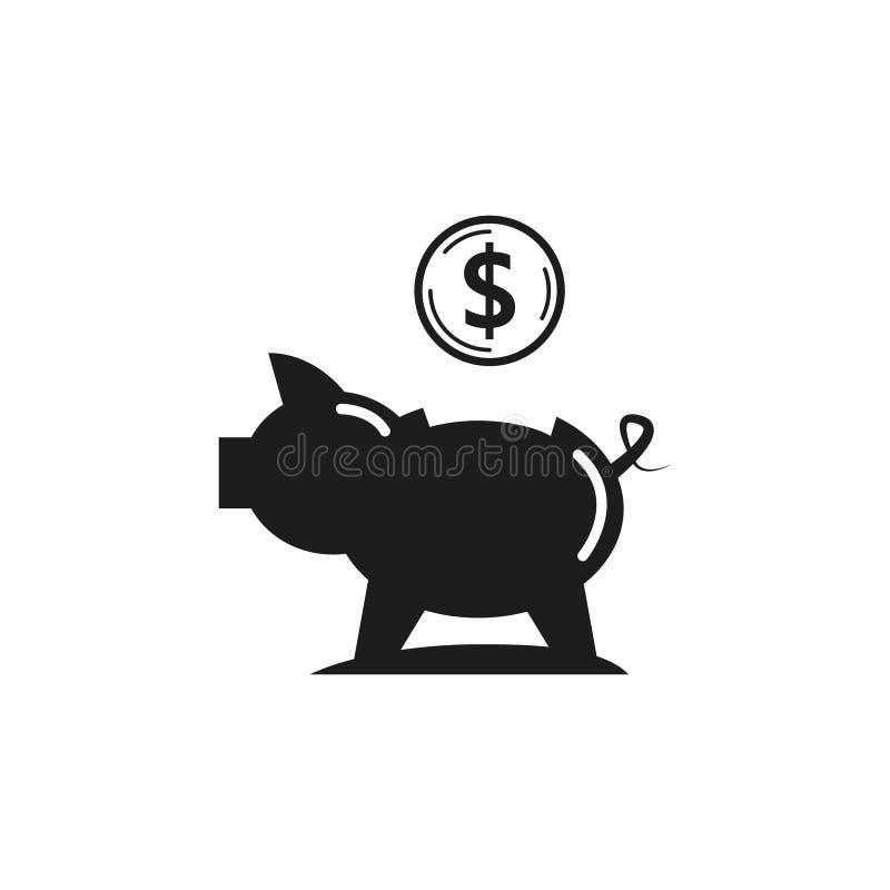 Ícone simples preto e branco do mealheiro do vetor do esboço ilustração stock