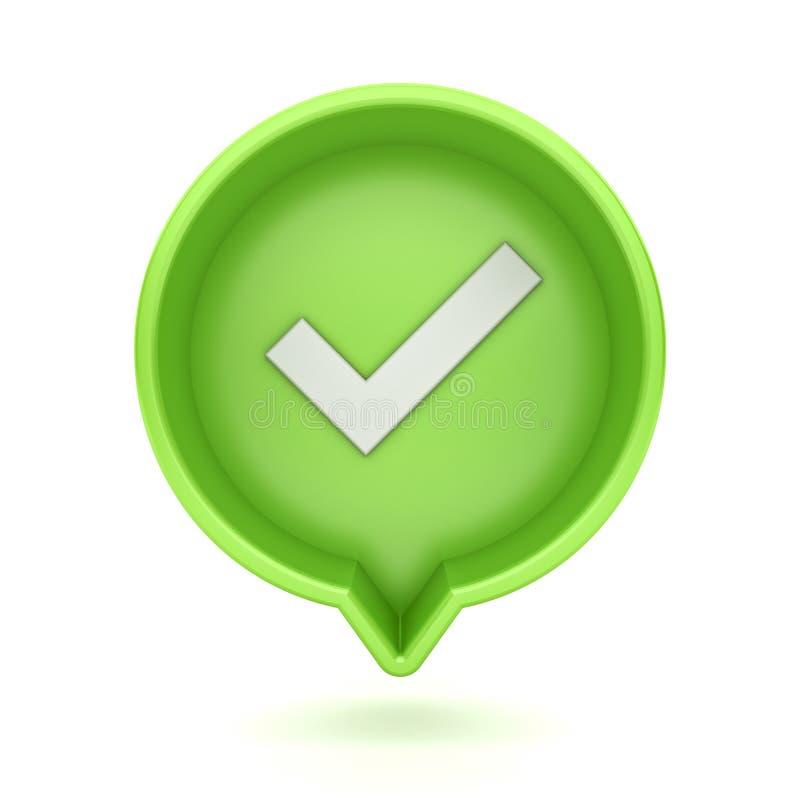 ícone social da marca de verificação da notificação dos meios 3d em claro - pino redondo verde isolado no fundo branco ilustração stock