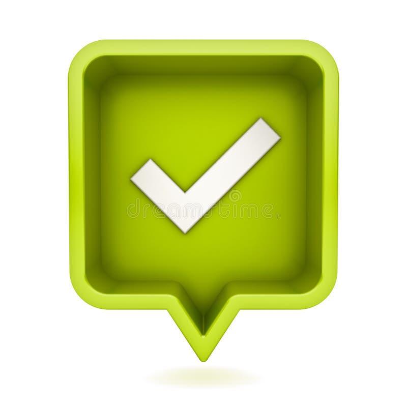 ícone social da marca de verificação da notificação dos meios 3d no pino quadrado arredondado verde isolado no fundo branco ilustração stock