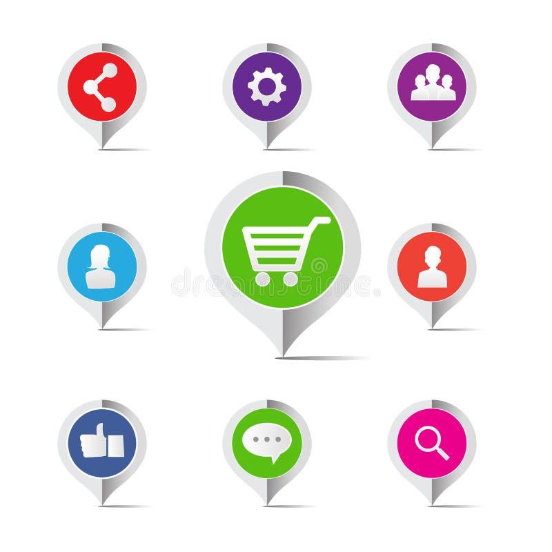 Ícone social do conceito do mercado da rede do carrinho de compras - vector o mal ilustração stock