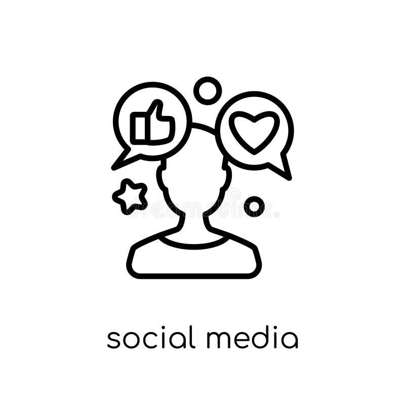 ícone social do especialista dos meios Vetor linear liso moderno na moda S ilustração do vetor