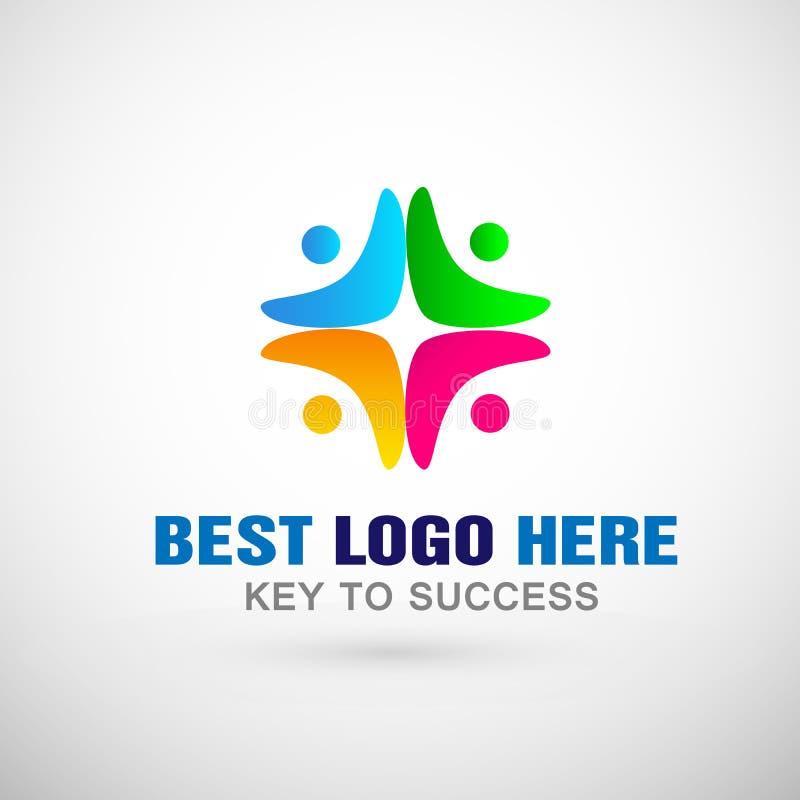 Ícone social do logotipo da comunidade do trabalho da equipe da união dos povos ilustração stock