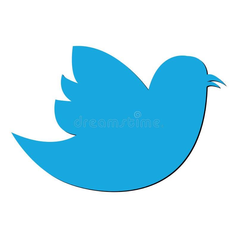 Ícone social do pássaro no fundo Pictograma liso moderno do gorjeio, negócio, mercado, concep do Internet ilustração stock