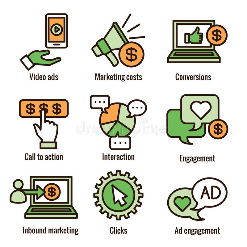 Ícone social dos anúncios dos meios ajustado com anúncios video, acoplamento do usuário, etc. ilustração royalty free