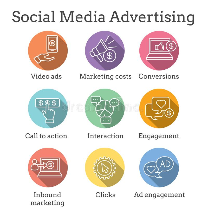 Ícone social dos anúncios dos meios ajustado com anúncios video, acoplamento do usuário, etc. ilustração do vetor
