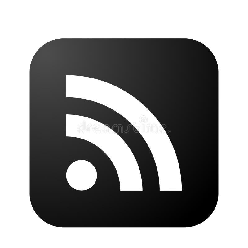 Ícone social dos meios do ícone do logotipo do RSS no elemento preto do vetor para o Internet da Web no fundo branco ilustração royalty free