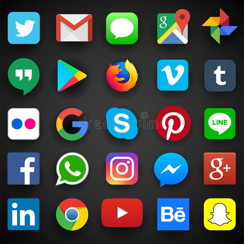Ícone social dos meios para Facebook, Whatsapp, Skype, Youtube, Instagram, Snapchat, lugar frequentado, Twitter ilustração do vetor