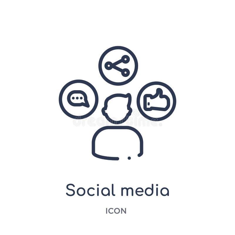 Ícone social linear dos meios da coleção do esboço da economia de Digitas Linha fina vetor social dos meios isolado no fundo bran ilustração do vetor