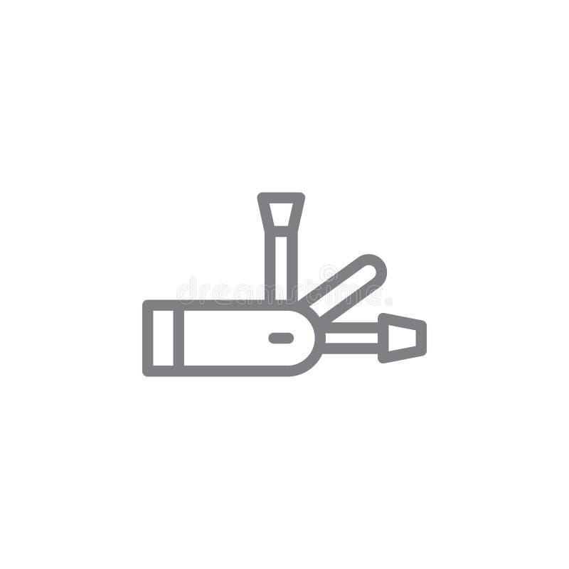 Ícone suíço do esboço da faca Elementos do ?cone de fumo da ilustra??o das atividades r ilustração stock