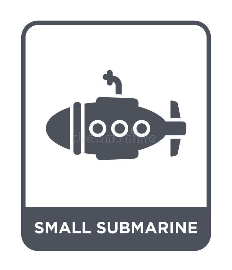 ícone submarino pequeno no estilo na moda do projeto ícone submarino pequeno isolado no fundo branco ícone submarino pequeno do v ilustração stock