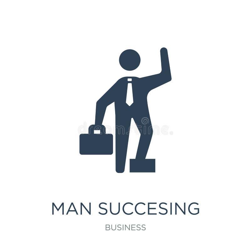 ícone succesing do homem no estilo na moda do projeto ícone succesing do homem isolado no fundo branco ícone succesing do vetor d ilustração stock