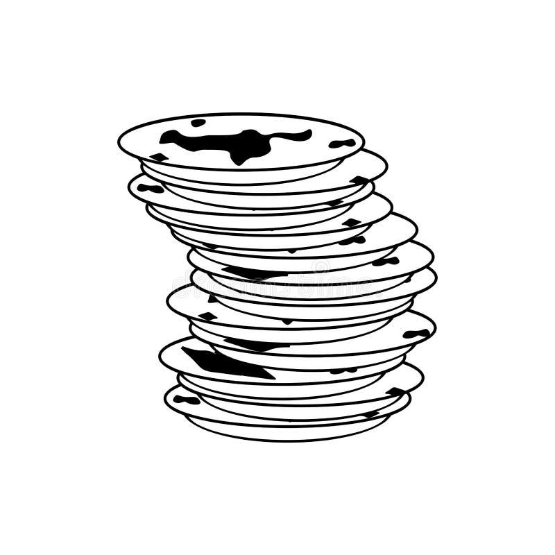 Ícone sujo dos pratos sinal sujo do prato Ilustração do vetor ilustração royalty free