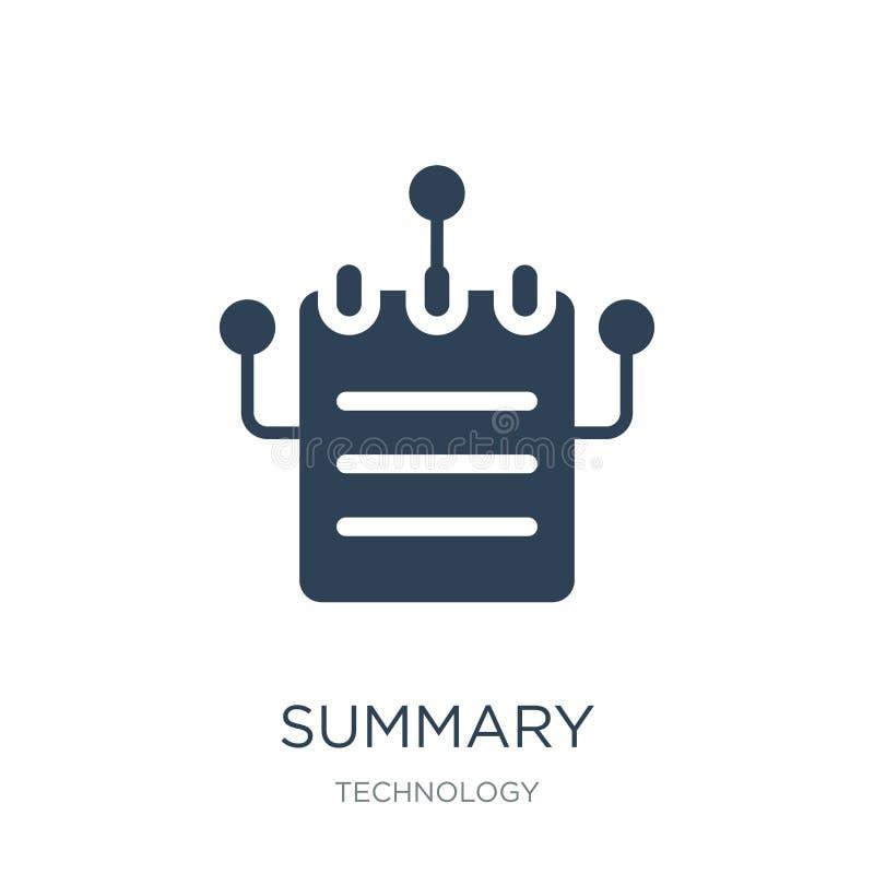 ícone sumário no estilo na moda do projeto ícone sumário isolado no fundo branco símbolo liso simples e moderno do ícone sumário  ilustração royalty free