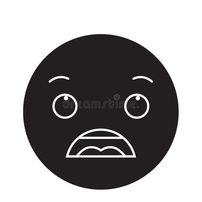 Ícone surpreendido do conceito do vetor do preto do emoji Ilustração lisa surpreendida do emoji, sinal ilustração royalty free