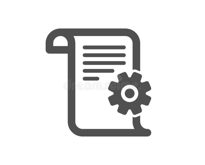 Ícone técnico da documentação Sinal da instrução Vetor ilustração stock
